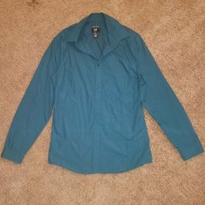 H&M dark teal collar shirt